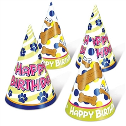 Your dog will look great in their very own Dog Birthday Cone Hat! You furry family member deserves to have as much birthday fun as anyone else, there will be dog smiles everywhere when they're wearing these fun hats. Each package contains for hats, so be sure to buy enough for all the pampered pet guests.