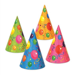 Fluorescent Cone Hat  - assorted, 144 per box