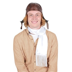 You'll be flying high when you arrive in this vintage look Aviator Hat & Scarf Set