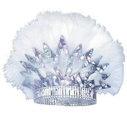 Silver Prismatic Tiara with White Feathers
