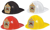 Plastic Fire Chief Hat with Silver Shield (Choose Color)