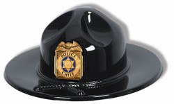 You'll be large and in charge with our Black Plastic Trooper or Police Chief Hat