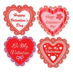 Happy Valentines Day Lace Heart Cutouts