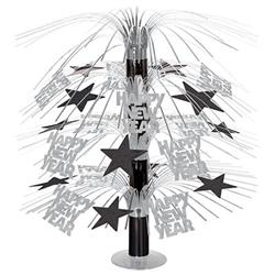 Happy New Year Cascade Centerpiece - Black and Silver