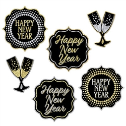 New Year Cutouts - 6 Pieces - Use this set of 6 New Year Cutouts as wall decorations, table edge decorations, or dangle from the ceiling.  However you decide to use them these black, gold and silver cutouts will add a classic style to your party.  Printed both sides on high quality cardstock.