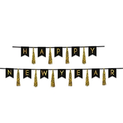 Happy New Year Tassel Streamer - Black and Gold