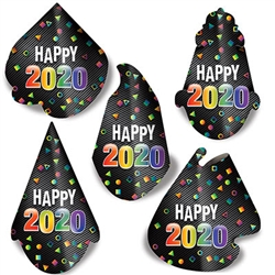 Top off your New Year's celebration with this fun and inexpensive 2020 Midnight Hat Assortment.  Sold 50 per package. Assorted styles as pictured.  One size fits most.
