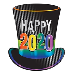 Top off your New Year's Eve celebration and welcome in 2020 with this large, eye-catching 2020 Foil Top Hat Cutout.  Printed both sides on high quality cardstock this large cutout measures 17 inches tall by 14.25 inches wide.  Order extra so your guest can create Instagram ready selfies!
