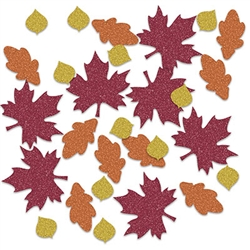 Bring the bright vibrant colors of fall to your table, shelves and displays at your next fall or Thanksgiving themed event. This Fall Leaf Deluxe Sparkle Confetti will add sparkle and interest to any surface. Great for scrap or memory books.