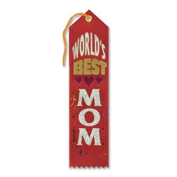 red and white worlds best mom ribbon