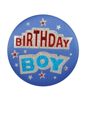Blue Birthday Boy Satin Button