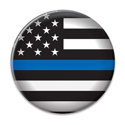Show your support for those who serve and protect with this 2 in diameter Law Enforcement Button.  Includes standard safety pin mount.  Please Note: Not intended for children under age 14.