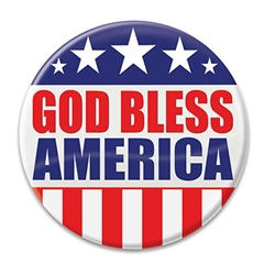 "Show the world know your pride in your country with these classic ""God Bless America"" Buttons! These patriotic pins are a fun and colorful way to show your appreciation for America Pins measure 2 inches in diameter and come one per package."