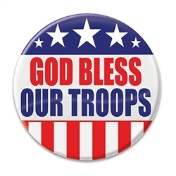 "Show tour thanks and well wished for those who serve with this ""God Bless Our troops"" Button!  These patriotic pins are a fun and colorful way to show your appreciation for all they do."