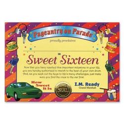 sweet sixteen award certificate
