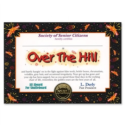 over the hill award certificate