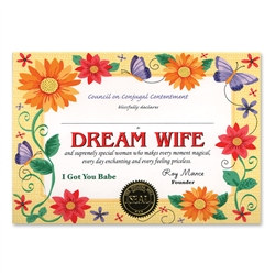 dream wife award certificate