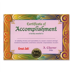 Certificate Of Accomplishment Award Certificates