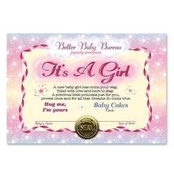 Its A Girl Award Certificate