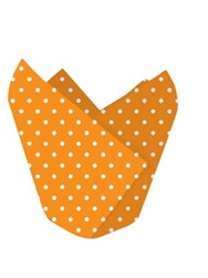 orange polka dotted baking cups