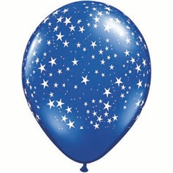 Blue Latex Balloon with White Stars - 11 inch
