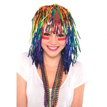 rainbow pom pom tinsel wig