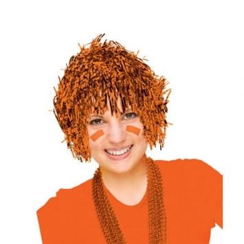 orange pom pom tinsel wig