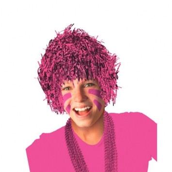 pink pom pom tinsel wig