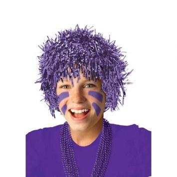 purple pom pom tinsel wig