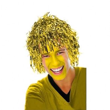 gold pom pom tinsel wig