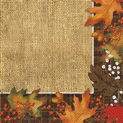 Rustic Autumn Leaves Luncheon Napkins