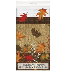 Rustic Autumn Leaves Plastic Tablecover