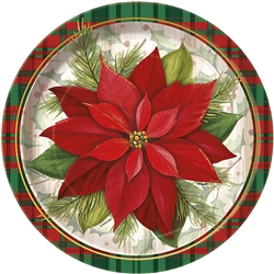Poinsettia Plaid Dinner Plates