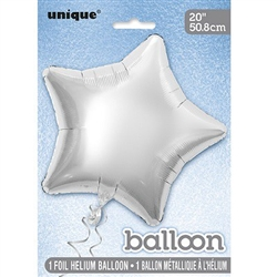 Silver Star Foil Balloon 20""