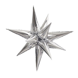 "Silver Jumbo 39"" Star Burst Balloon"