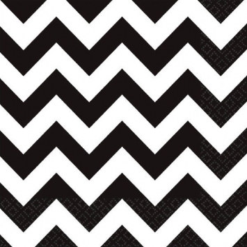Black and White Chevron Lunch Napkins (36/pkg)