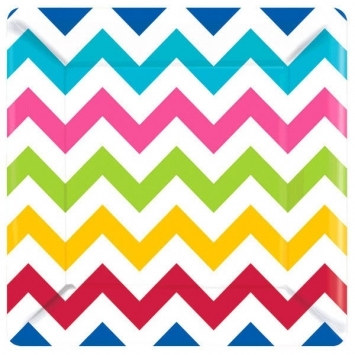Multi-Color Chevron Lunch Plates (18/pkg)