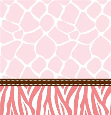 Pink Baby Safari Shower Tablecover