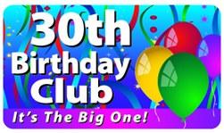 30th birthday club plastic pocket card