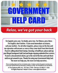 Government Help Plastic Pocket Card