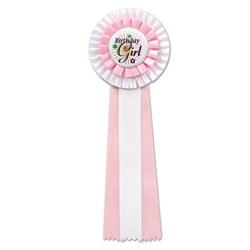 white birthday girl deluxe rosette ribbon