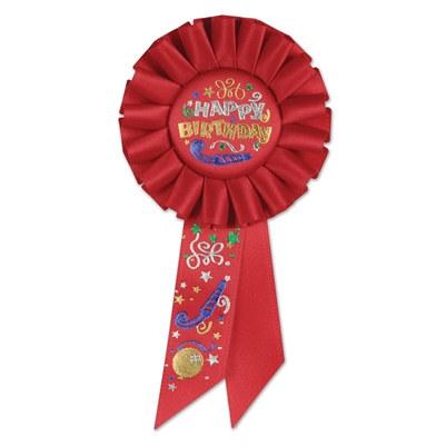 happy birthday rosette ribbon