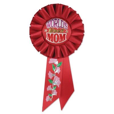 worlds best mom rosette ribbon