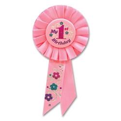pink my first birthday rosette ribbon