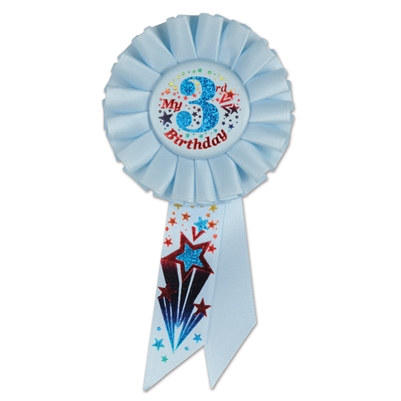 blue my 3rd birthday rosettte ribbon