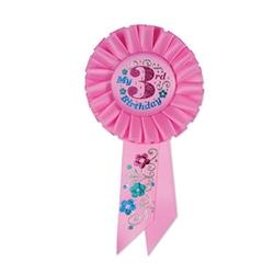 pink my 3rd birthday rosette ribbon