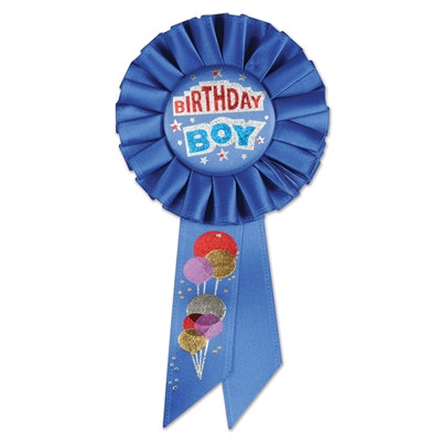 birthday boy rosette ribbon with balloons