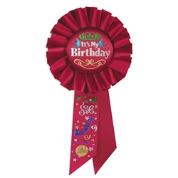 red it's my birthday rosette ribbon